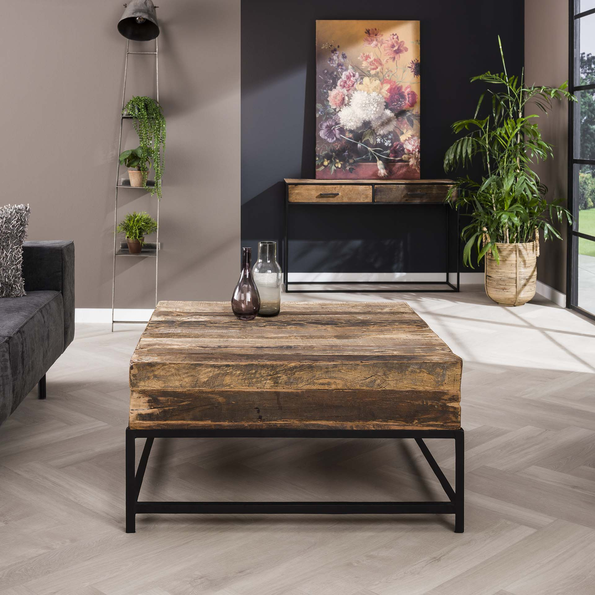 Salontafel Lodge vierkant - Massief gerecycled hout