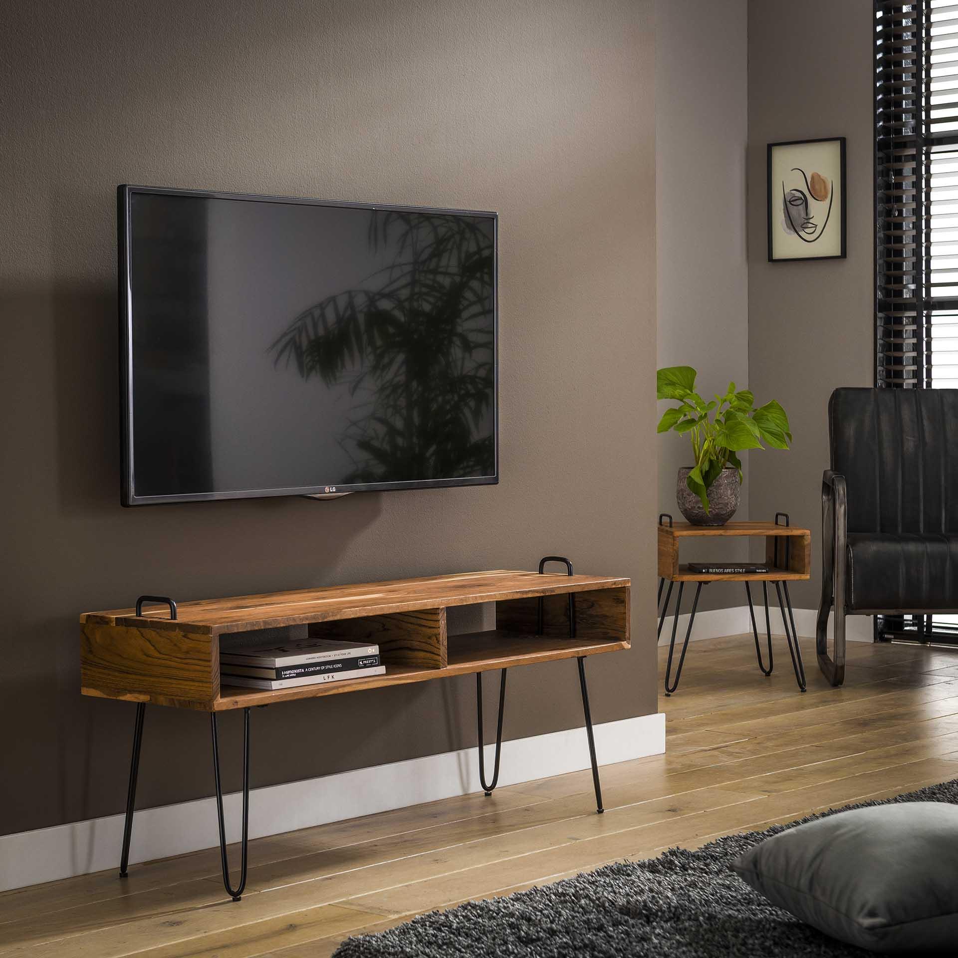 TV meubel Quadro met 2 vakken Massief acacia naturel