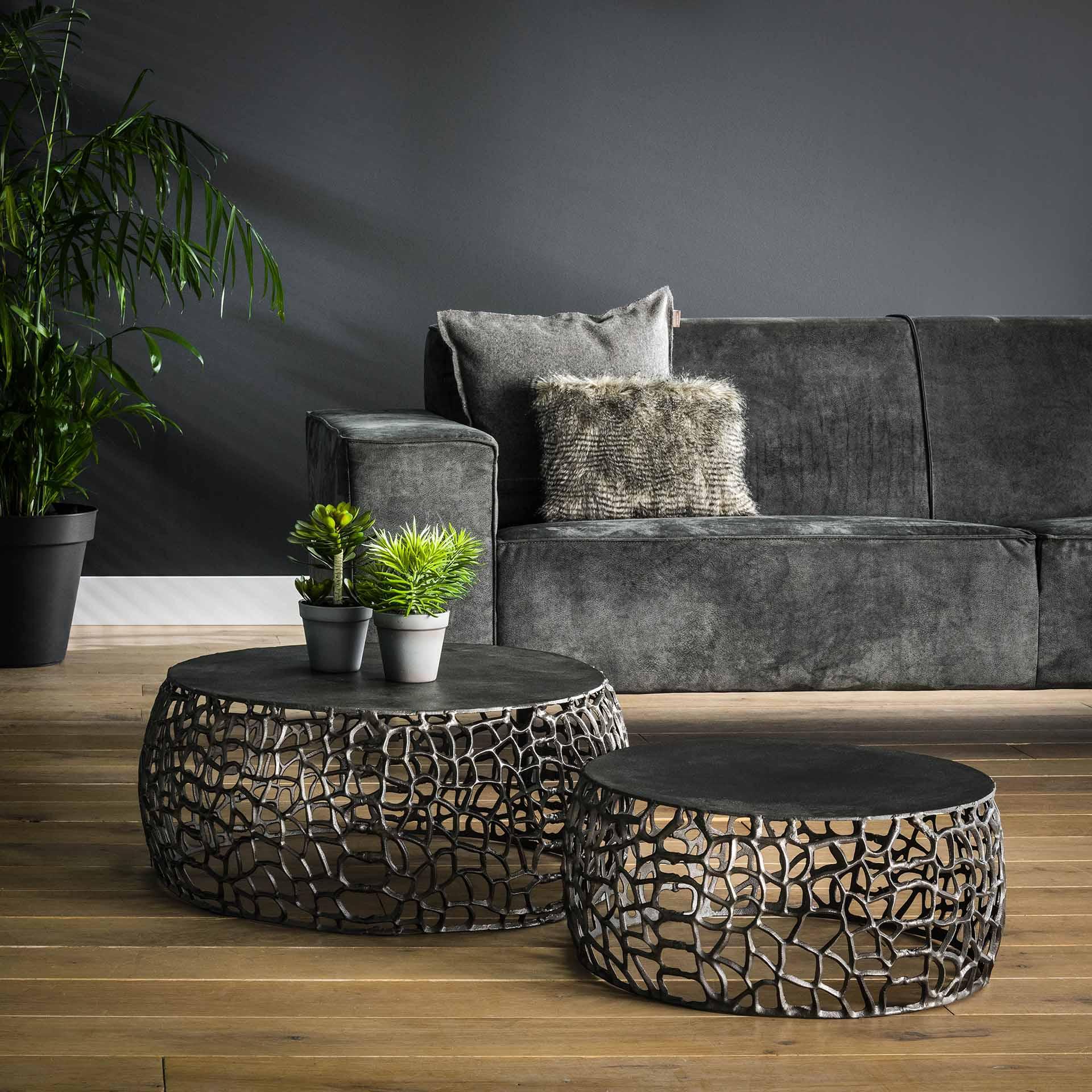 Salontafel set/2 maze zandgegoten - Zwart nikkel