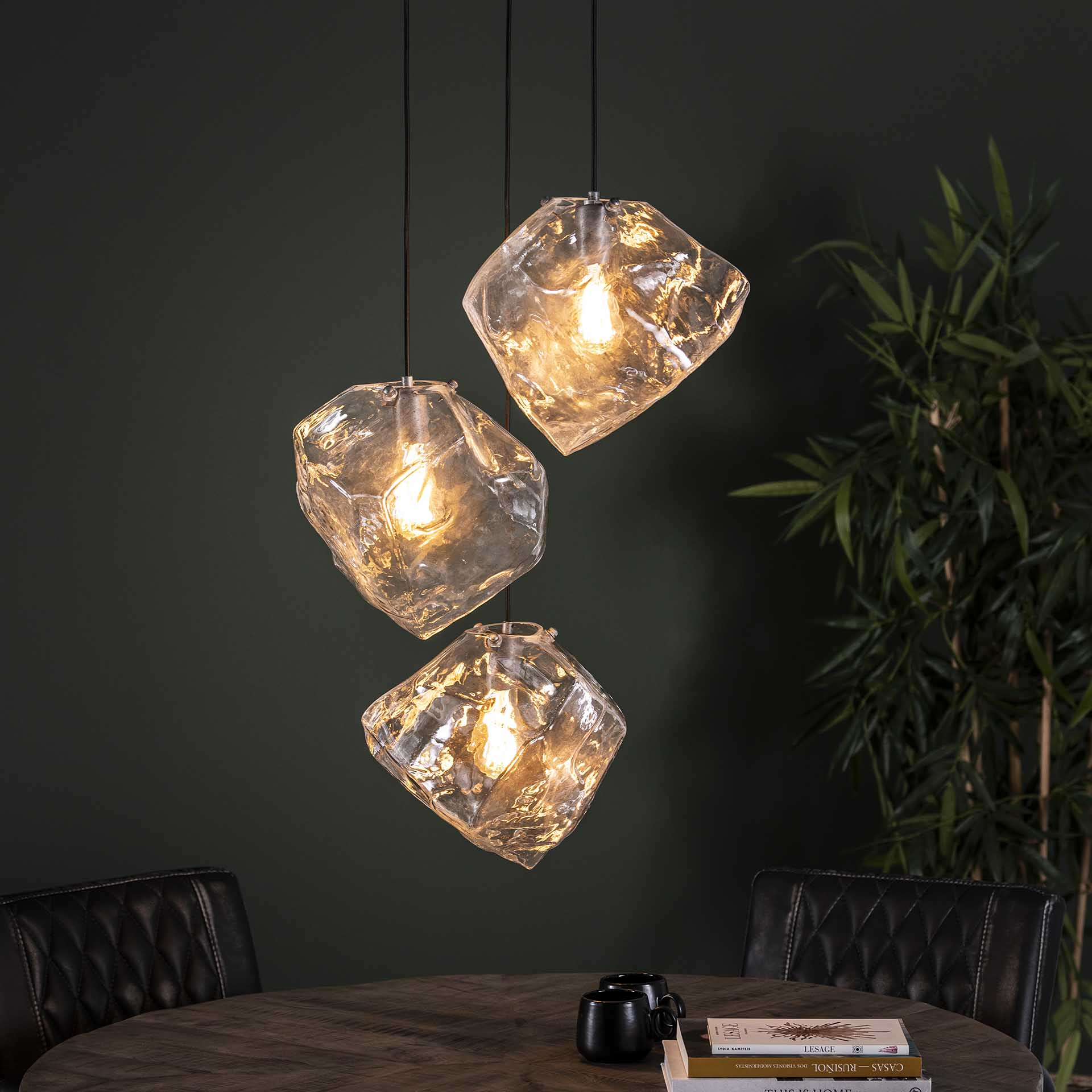 Hanglamp 3L rock clear getrapt Transparant glas