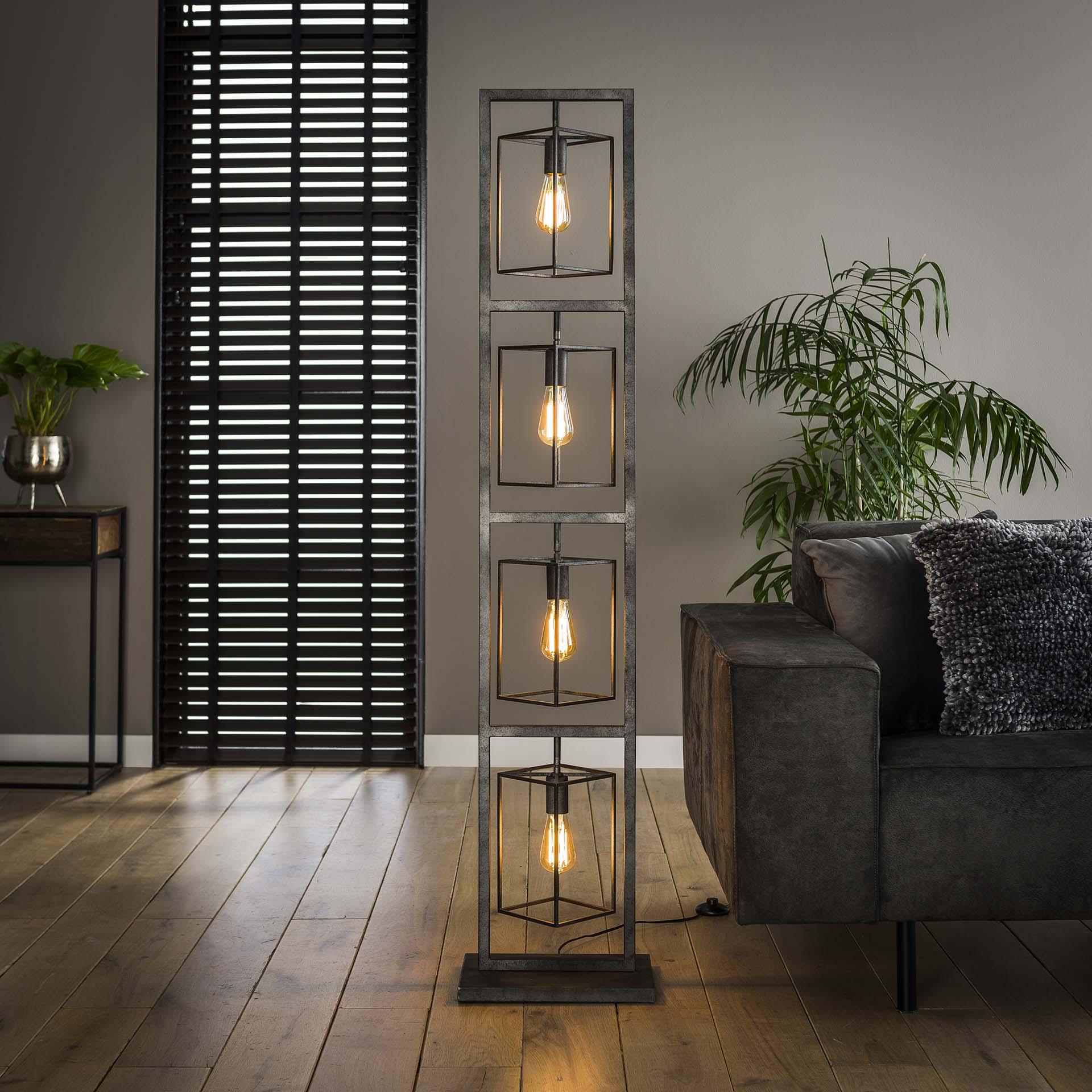 Vloerlamp 4x cubic tower Oud zilver