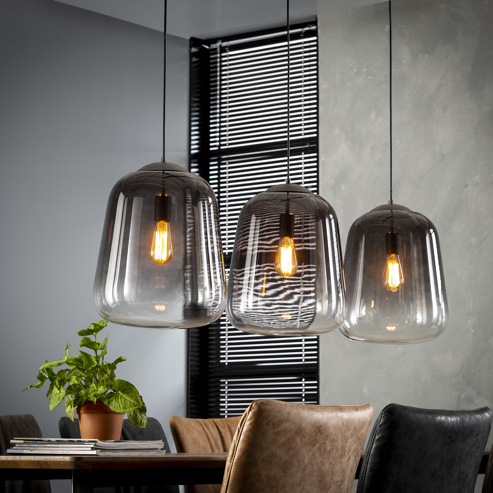 Hanglamp 3x32 shaded - Oud zilver