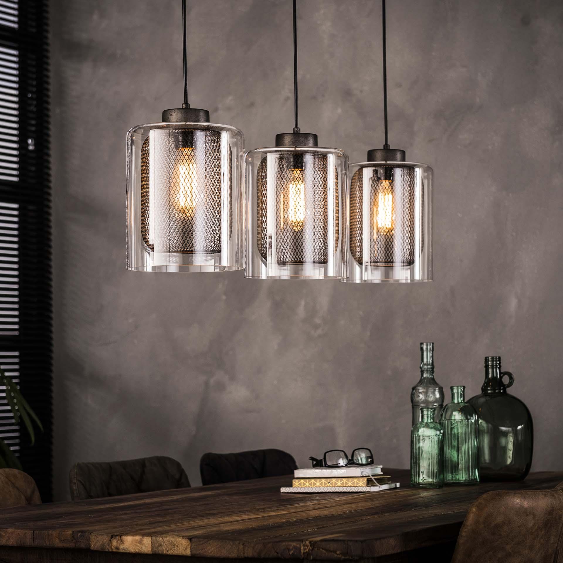 Hanglamp 3x20 raster glas Oud zilver