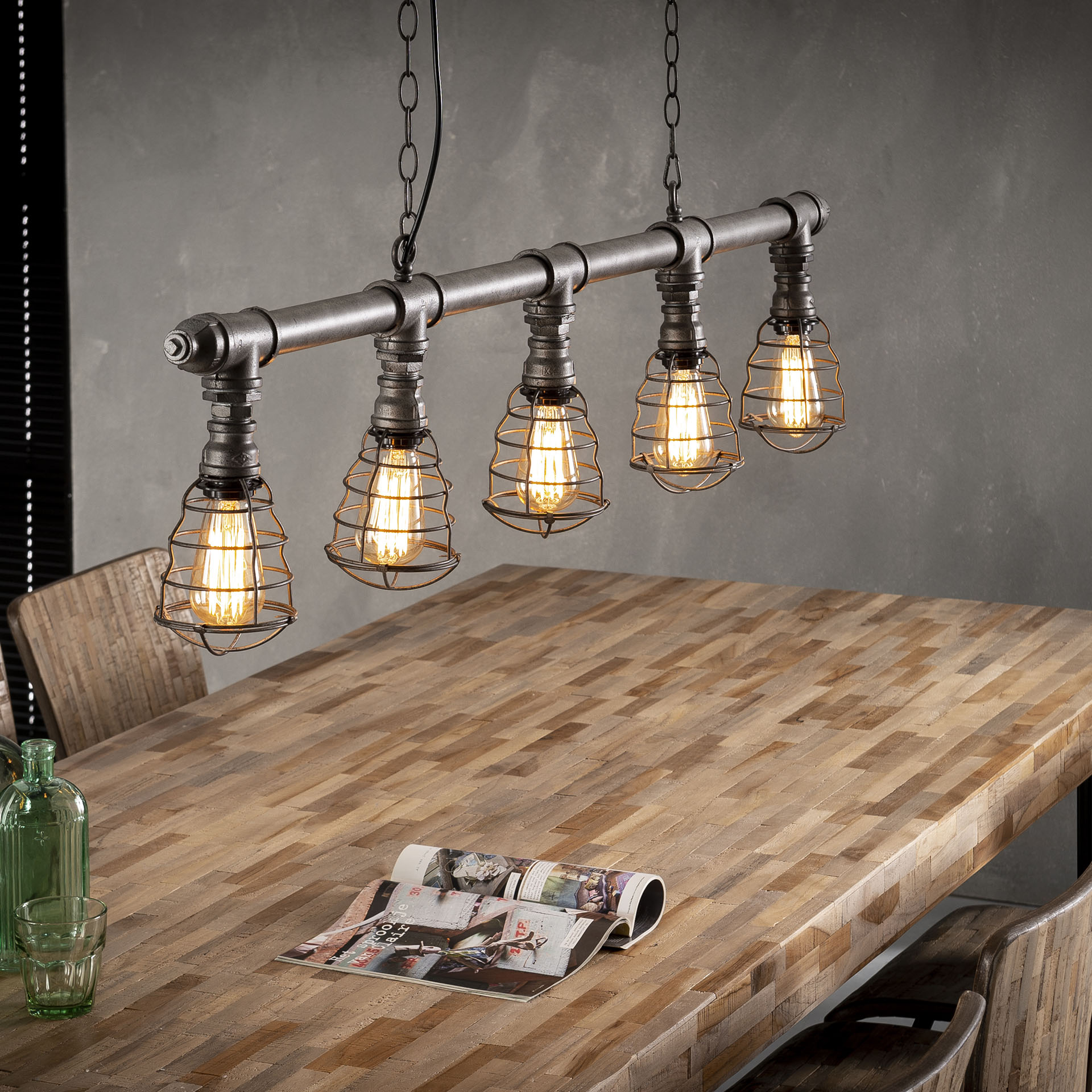 Hanglamp 5x12 industrial tube wire - Oud zilver