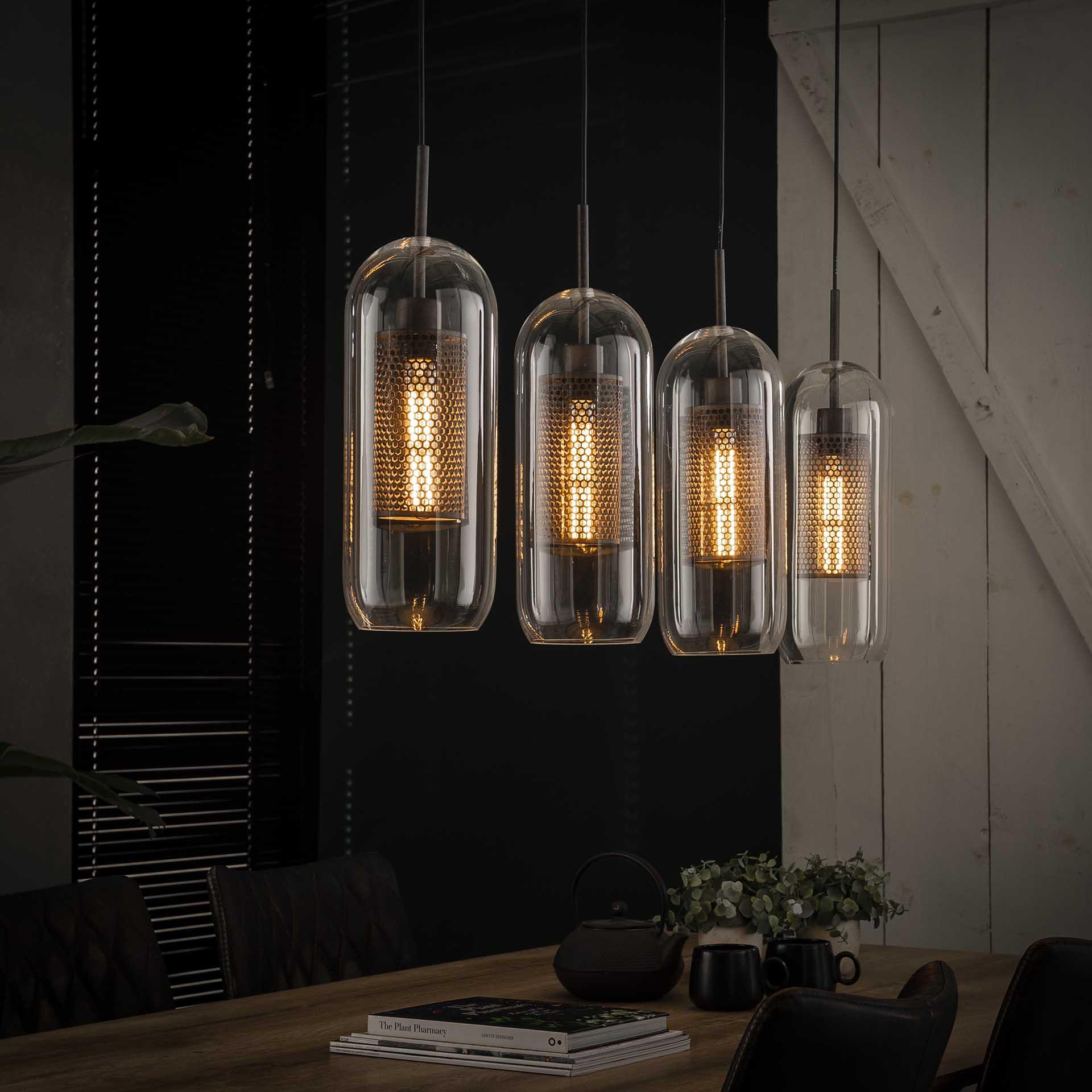 Hanglamp 4x 15 glas/ geperforeerd staal - Oud zilver