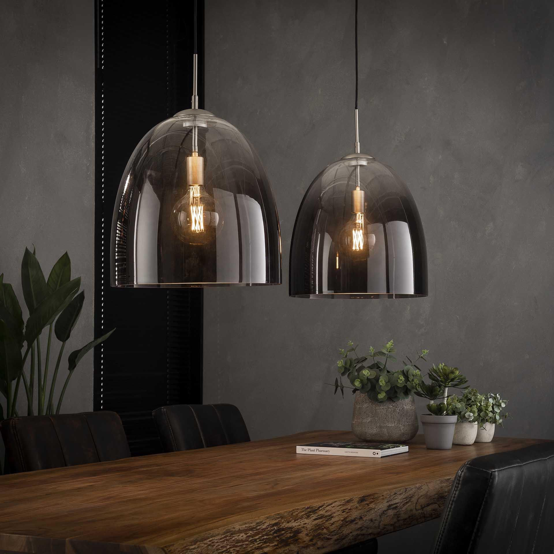 Hanglamp 2x 40 shaded ovaal glas - Mat nikkel