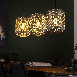 Hanglamp 3L etch - Oud zilver
