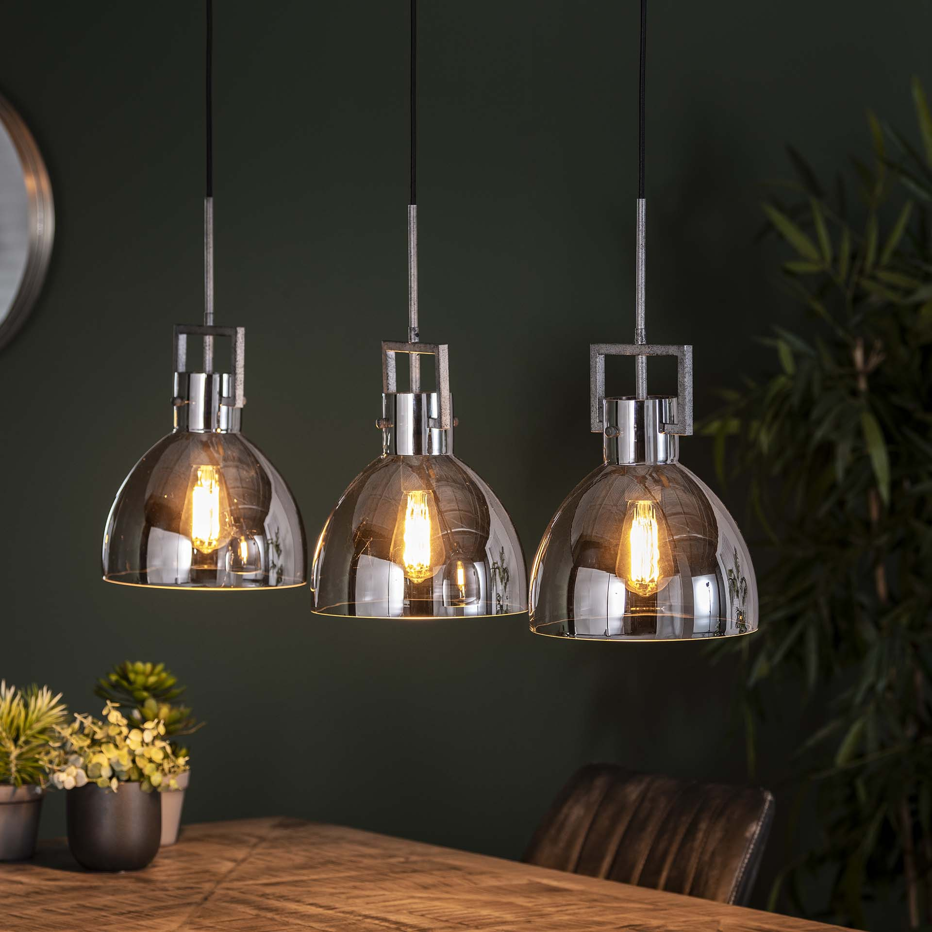 Hanglamp 3L industry chromed glass Oud zilver