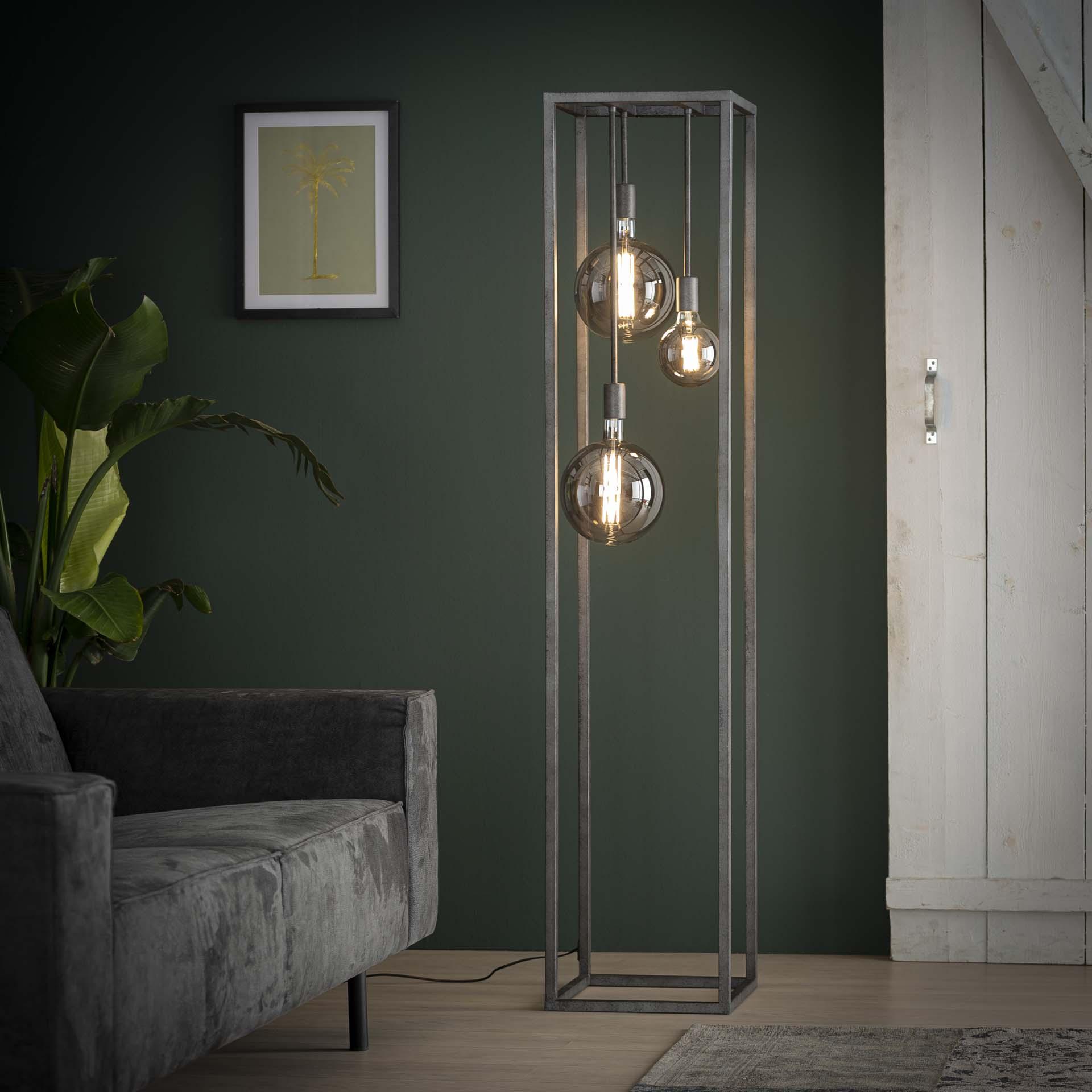 Vloerlamp pilar XL frame vierkante buis Oud zilver