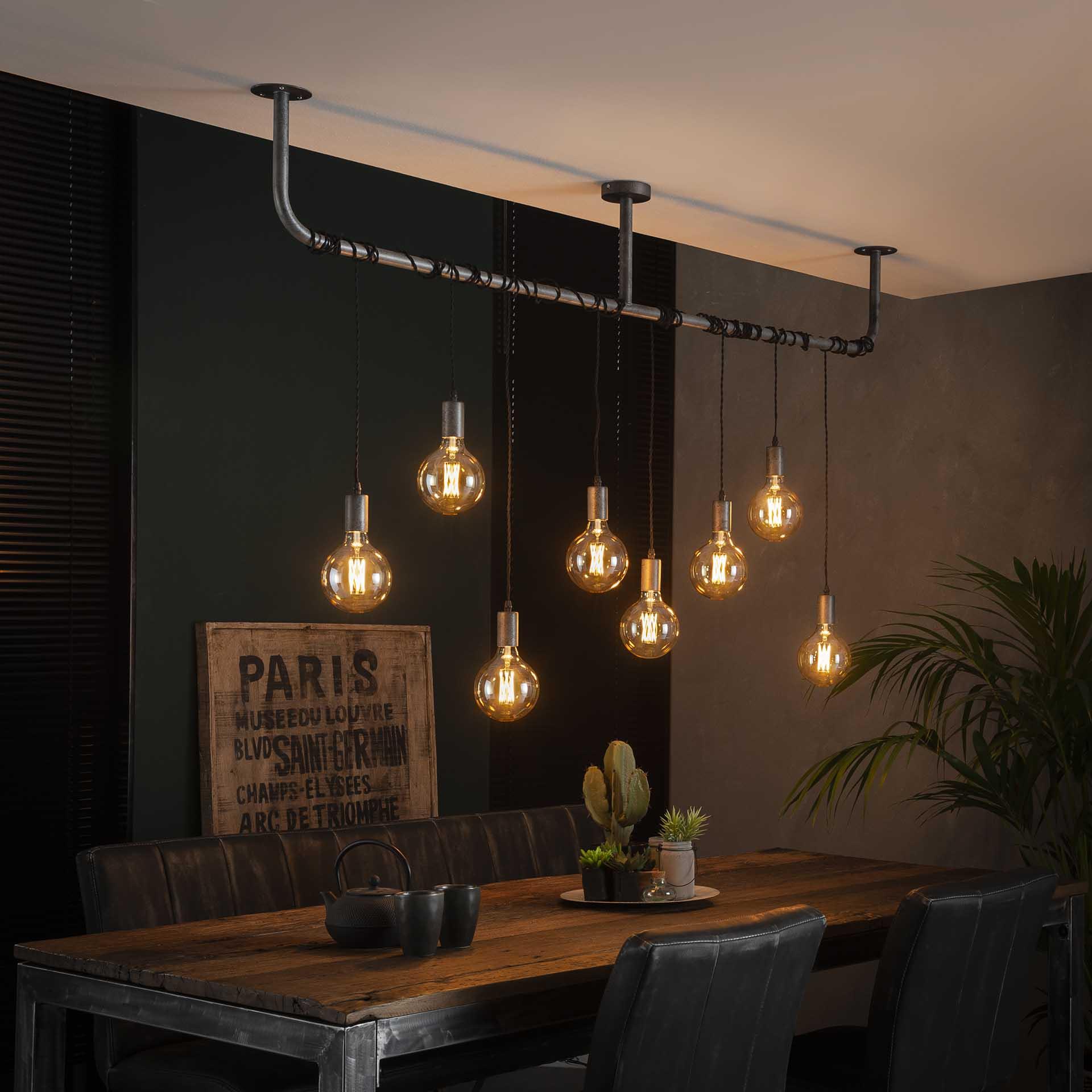 Hanglamp 8L wikkel - Oud zilver