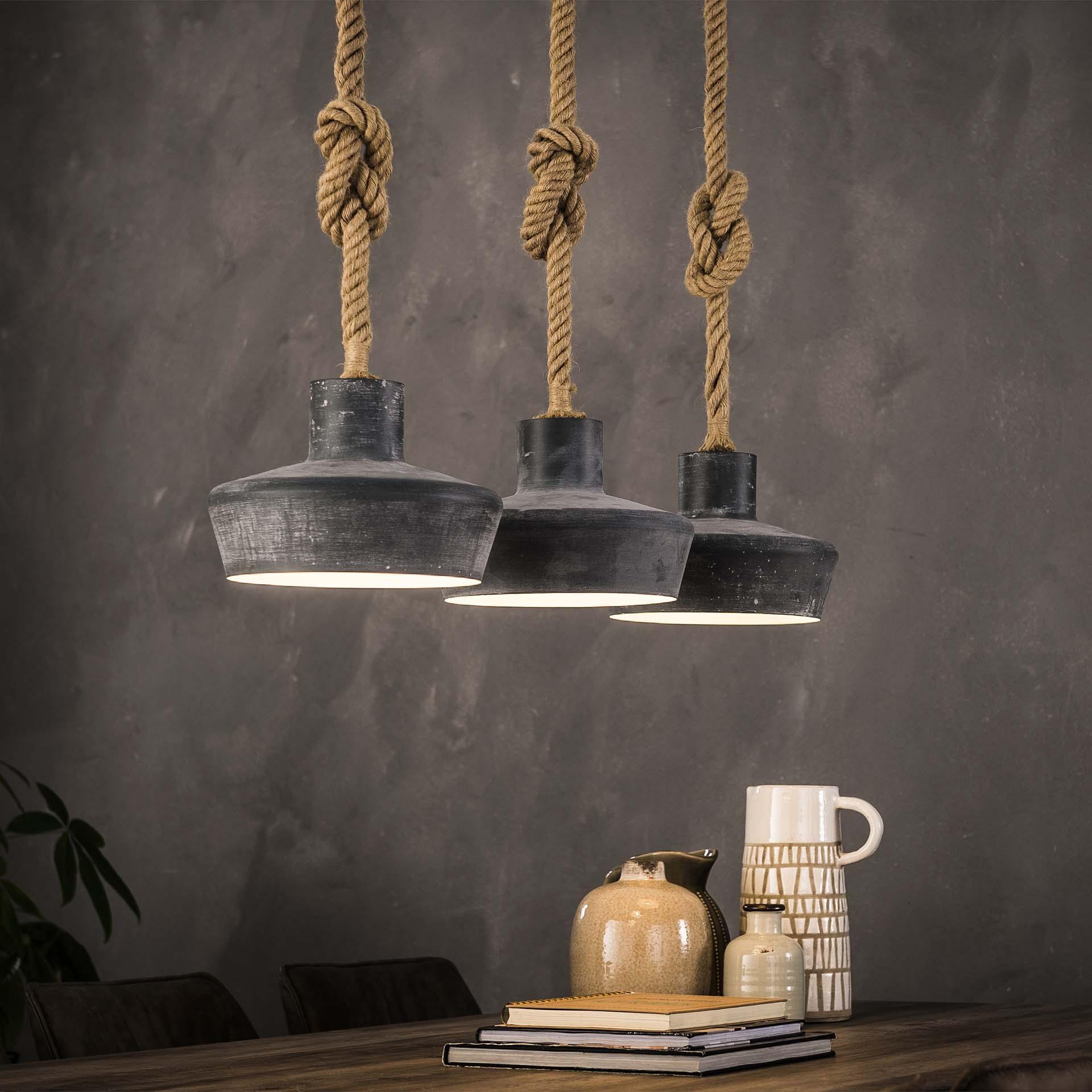 Hanglamp 3x28 betonlook verstelbaar touw - Grijs
