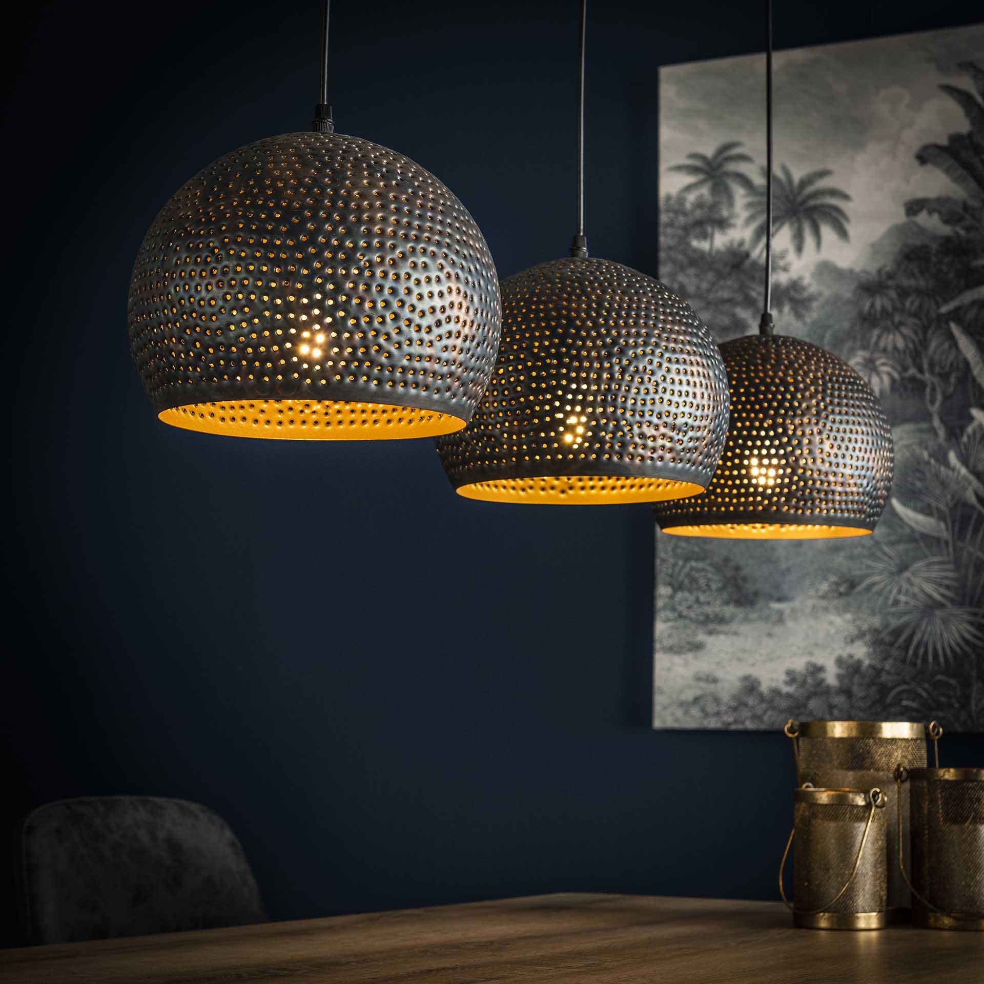 Hanglamp 3x25 punch bol - Zwart bruin