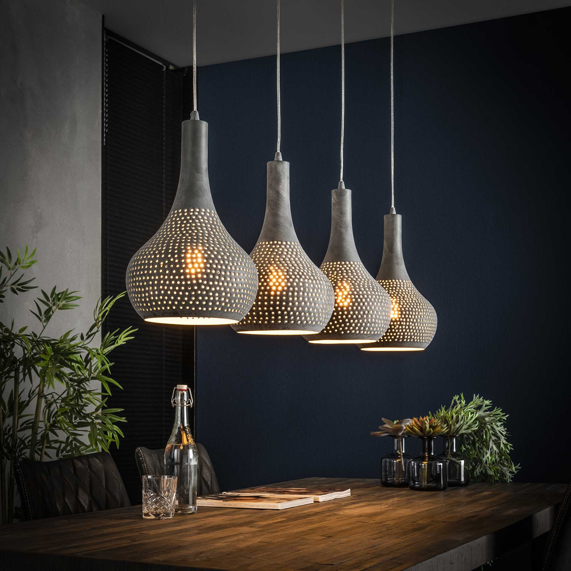 Hanglamp 4L punch kegel - Grijs