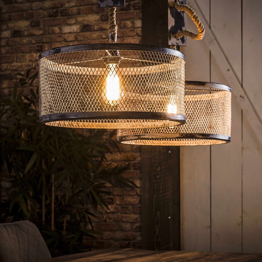 Hanglamp 2x40 mesh verstelbaar touw - Grijs