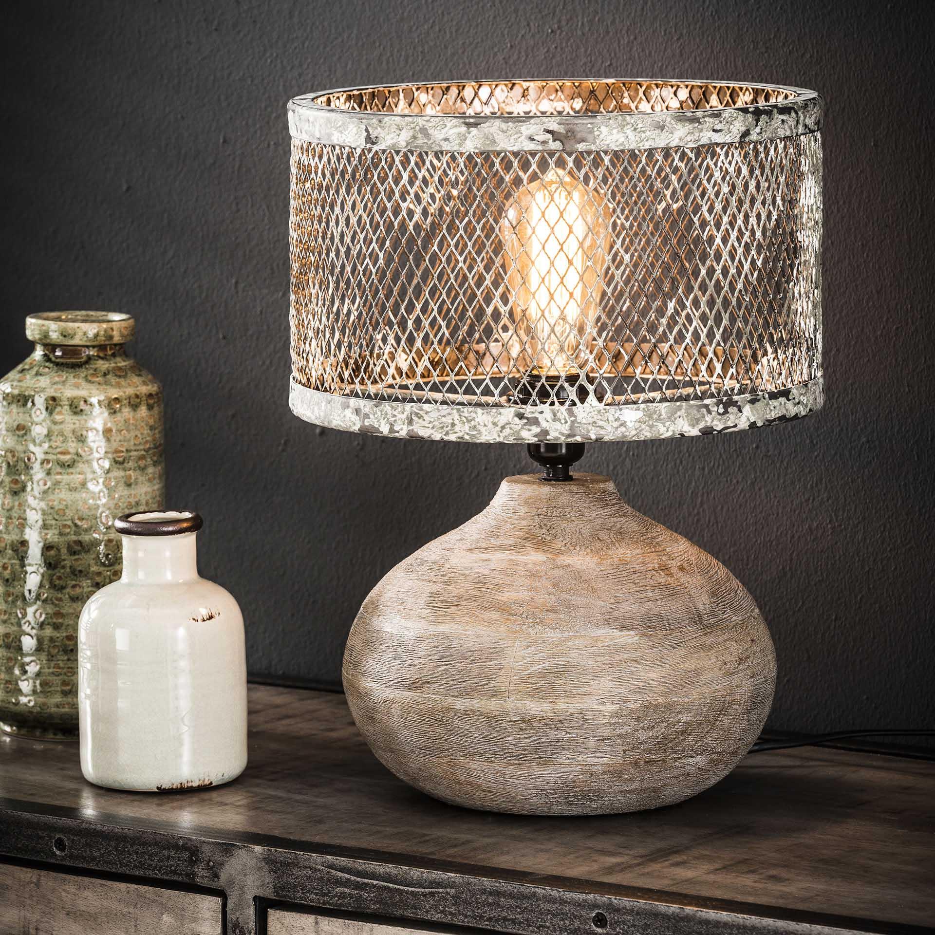 Tafellamp massief houten bolle voet / Verweerd koper