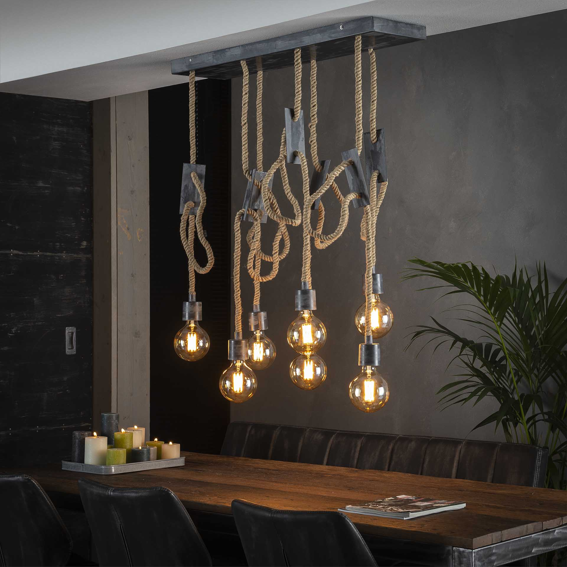 Hanglamp 7L touw 3+4 - Grijs