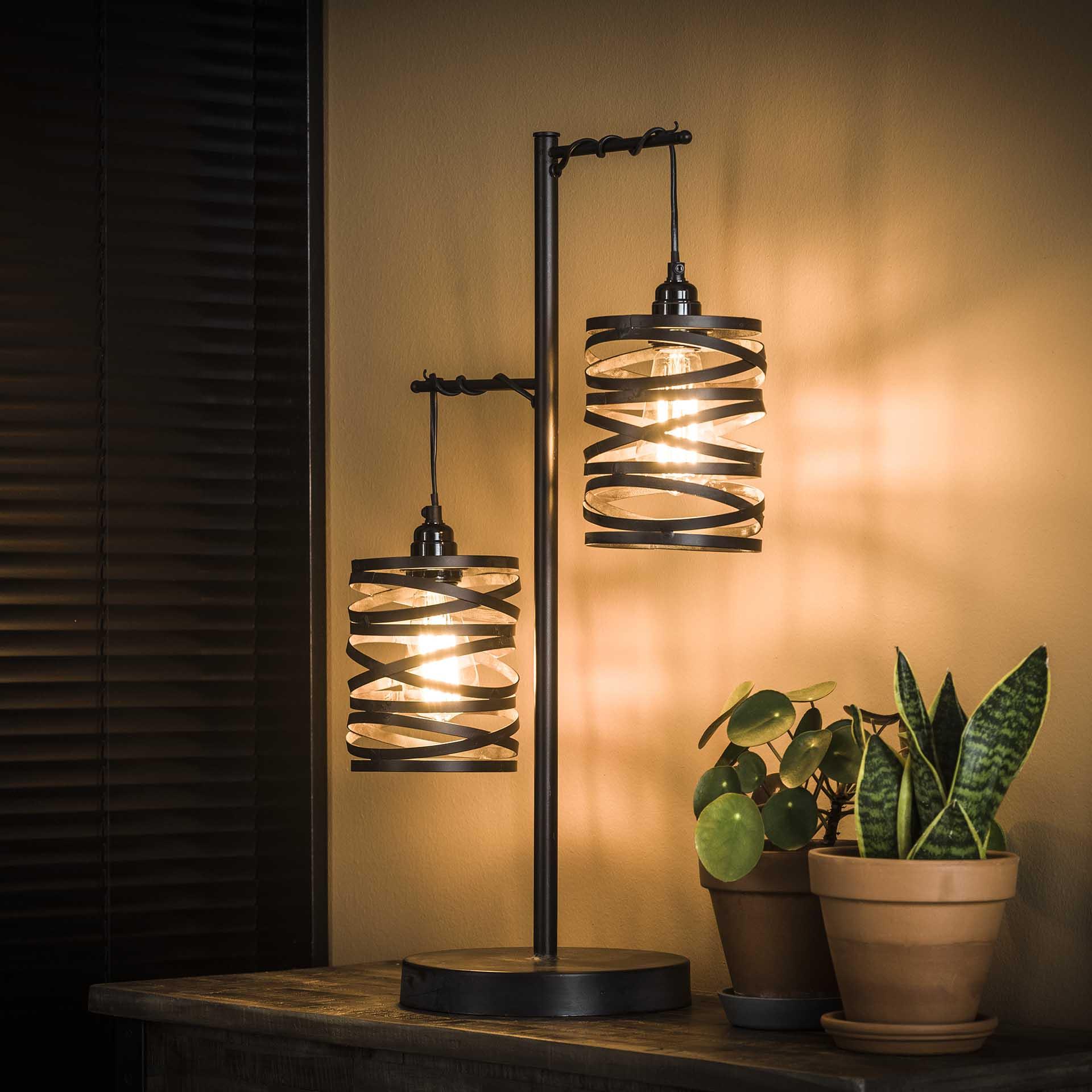 Tafellamp 2L spindle Slate grey