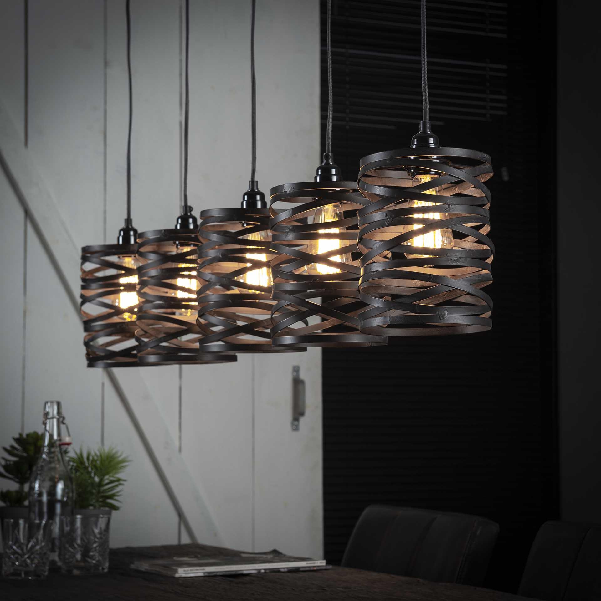 Hanglamp 5x 17 spindle - Slate grey