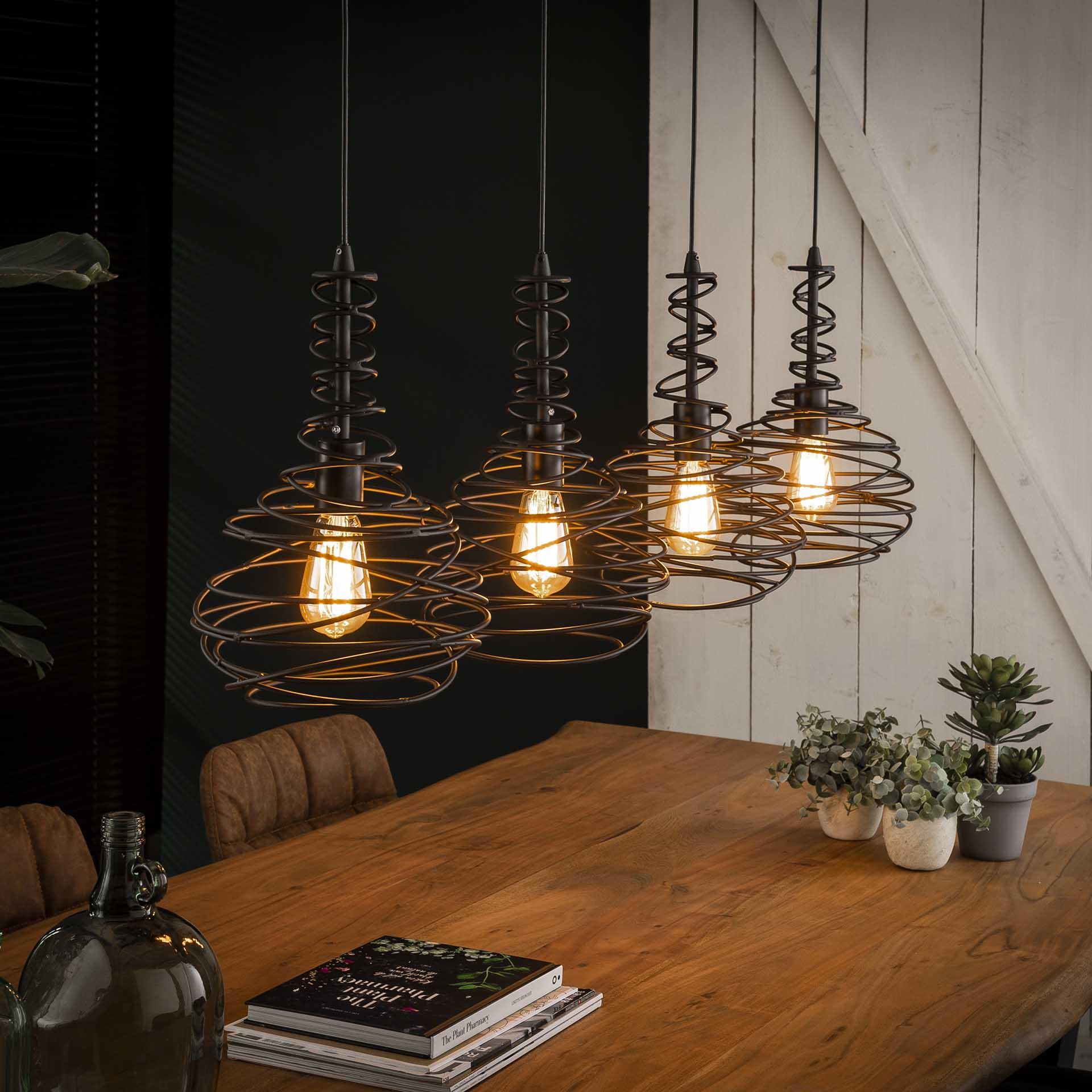 Hanglamp 4x 25 kegel spinn - Zwart