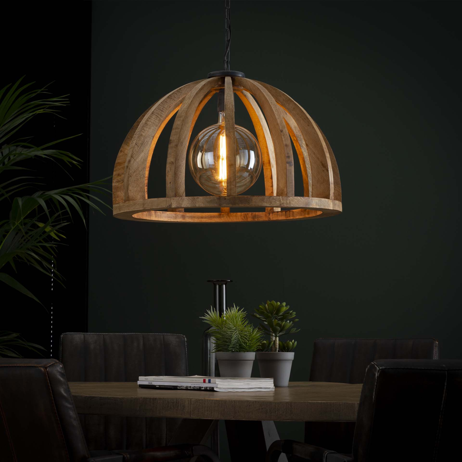 Hanglamp 60 gebogen houten spijlen - Massief mango naturel - Massief mango naturel