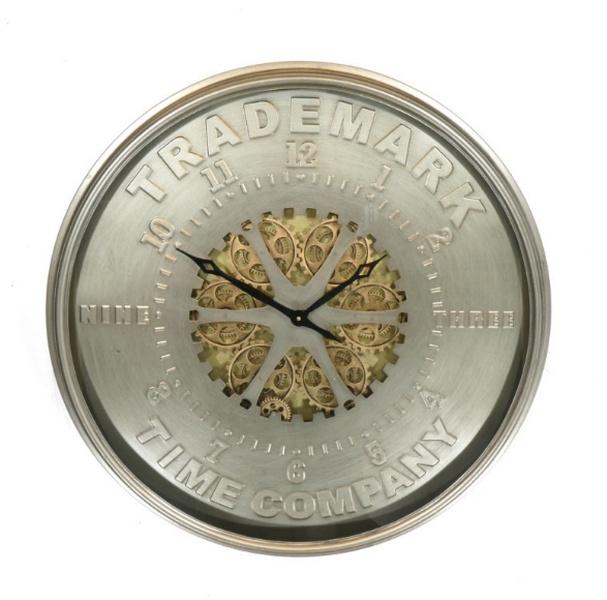 Design Wandklok Trademark - bewegende tandwielen - grijs goud - 80 cm