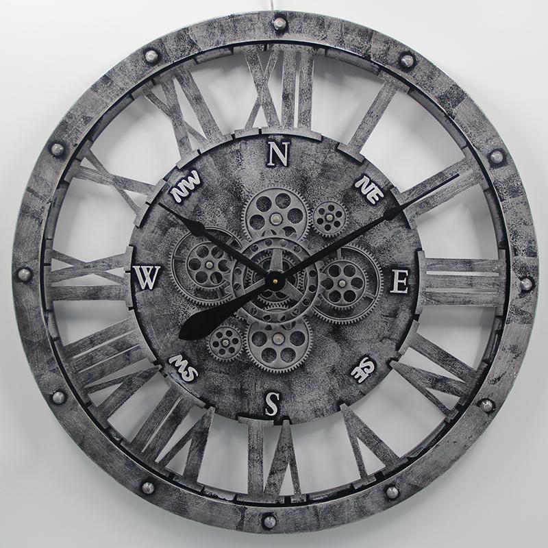 Grote wandklok Theijn - Industri�le Wandklok - Wandklok grijs zwart - 75 cm