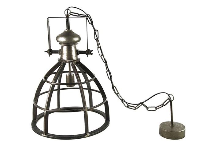 Hanglamp industrieel nikkel donkergrijs 40 cm