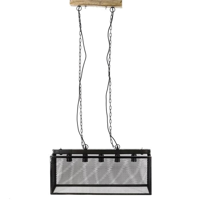 Metalen hanglamp rechthoek - zwart - kooilamp - 151 cm
