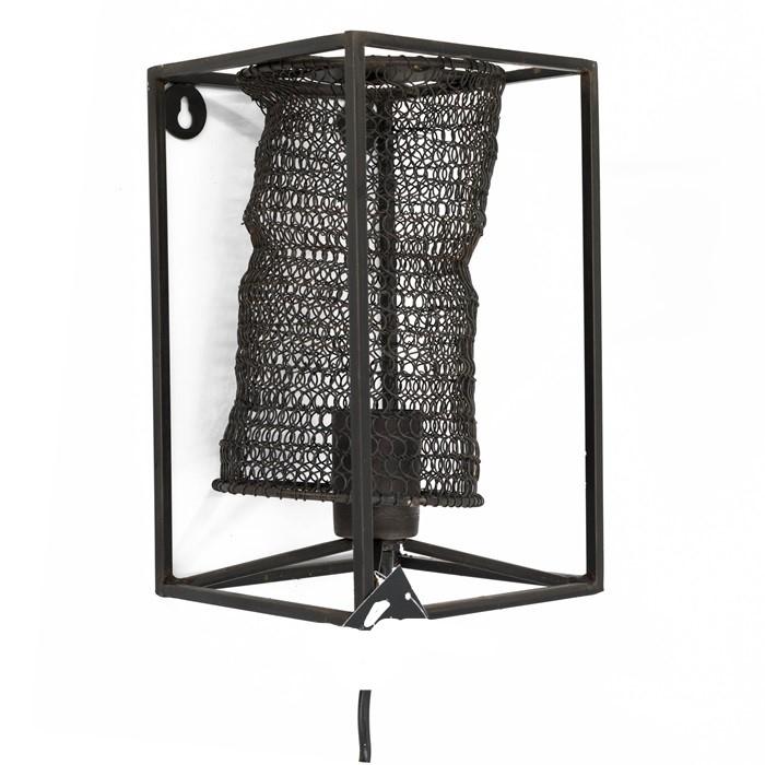 Metalen wandlamp - zwart - kooilamp - 25 cm
