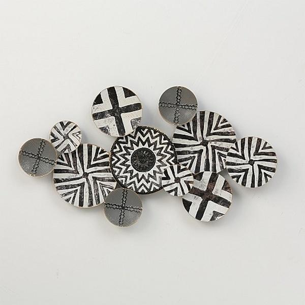 Muurdecoratie woonkamer metaal 3D - wanddecoratie metaal zwart wit 110 cm