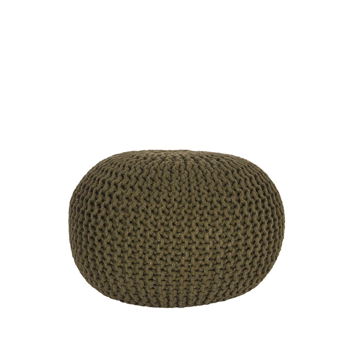 Label51 Poef Knitted Army green Katoen M online kopen