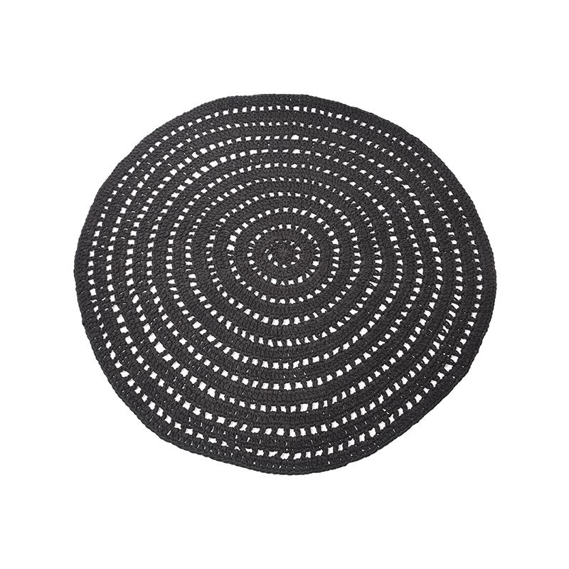 LABEL51 Vloerkleed Knitted Zwart Katoen 150x150 cm