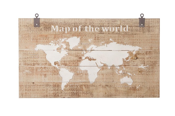 Wanddecoratie Map of the World 140 cm