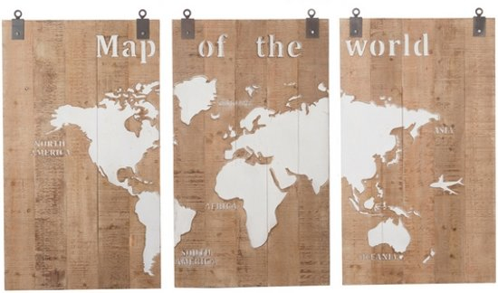 Wanddecoratie Map of the World 3-Luik 210 cm