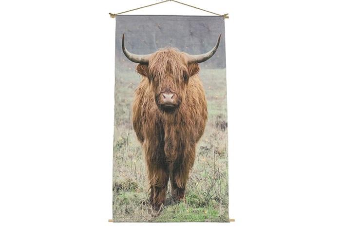 Wanddecoratie Schotse Hooglander op canvas doek inclusief verlichting XL (100x135 cm)
